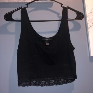 Forever 21 black crop top lace bottom